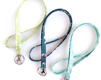 green and turquoise fabric lanyard, ID badge holder, long keychain, student or teacher gift, graduation gift, lanyard with swivel clip