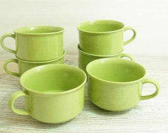 Vintage Melamine Cups Avocado Green Melmac Coffee Cups 6 Pieces 1960s