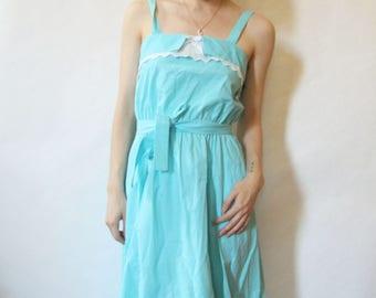50s Baby Blue Sundress S M