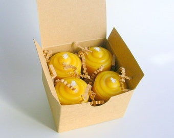 Four Little Beeswax Votives in a Gift Box