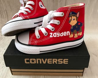 Paw patrol Chase Shoes - personalized chuck taylors - customized converse - personalized - Birthday swag