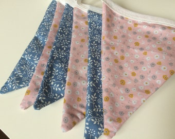 Pink and blue floral bunting