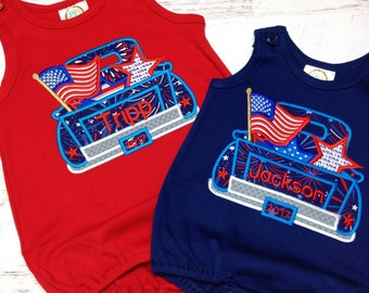4th of July romper for boys, Truck bubble romper for boys, 4th of July baby boy, 4th of July outfit, 4th of July birthday