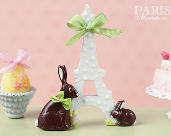 """MTO-An """"Easter in Paris"""" Eiffel Tower and Chocolate Bunny Decoration for Spring (Green Ribbon) - Miniature Decoration in 12th Scale"""