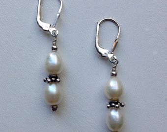 Drop-Shape Pearl Earrings with Bali Silver Spacers