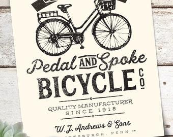 Vintage Bicycle Poster 11x14 Digital Print
