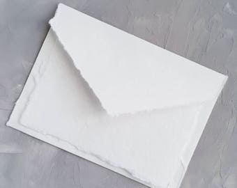 """4.75x6.5 inches  (4.75"""" x 6.5"""") Handmade Cotton Paper Deckle Edge Rag Ungummed Invitation Envelope Save the Date  150gsm 