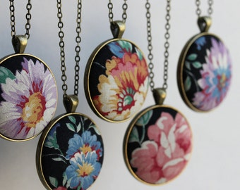 Vintage Floral Fabric Necklace, Unique Jewelry for Women, Black, Purple, Blue Yellow, Pink Rose, Boho Bridesmaid Pendant, Bohemian Wedding
