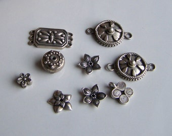Sterling Silver Beads, Connector Beads, Flower Beads, Silver Beads, Destashed Beads, Sterling, Etsy, Etsy Jewelry, Etsy Supplies, Etsy Beads