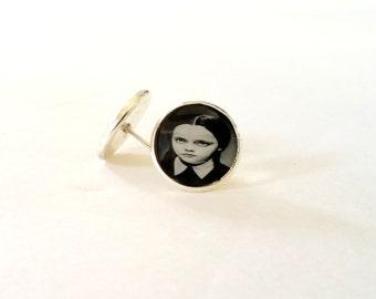 Wednesday Addams earrings (post earrings, Halloween, horror, Addams family)