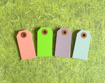 """Set Of 24, Spring Mix Parcel Tags, 2 3/4"""" x 1-3/8"""" Pastel Spring Colors Hang Tags, Kraft Reinforced Holes, Shipping Tag, No. 1,"""