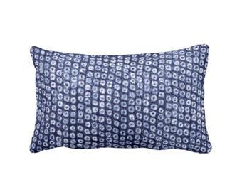 """Batik Print Indigo Throw Pillow, 14 x 20"""" Lumbar OUTDOOR or INDOOR Pillows/Covers, Dots/Circles/Abstract/Boho/Tribal Design, Navy"""