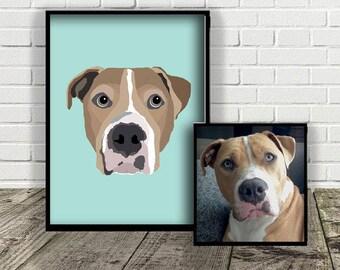 Custom Dog Illustration | MADE FROM PHOTO | Print at Home | Pet Gift  |  Digital File | Portrait