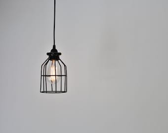 Black Cage Pendant Lamp, Industrial Hanging Light Fixture, BootsNGus Modern Home Lighting and Decor