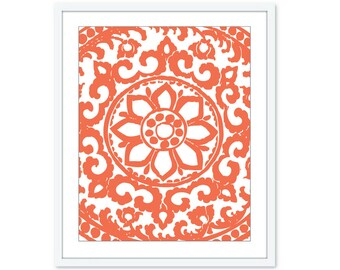 Art Deco Print Art Deco Wall Art Mandala Print mandala Wall Art Modern Decor Medallion Wall Art Coral Art Abstract Flower Print Aldari Art