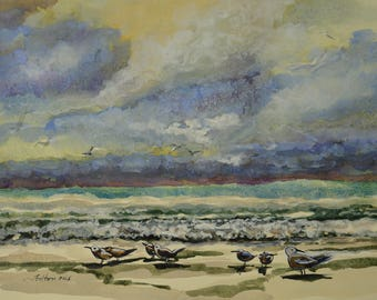 """Original watercolor of 'sea birds at the beach' with dramatic sky and ocean waves 10""""x14"""""""