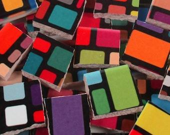 Ceramic Mosaic Tiles - Bright Colorful Blocks On Black Mosaic Tile Pieces - 40 Pieces - For Mosaic Art / Mixed Media Art/Jewelry