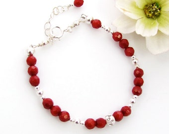 Girls (CHILDREN, Kids Jewelry) Delicate Red Coral Beaded Bracelet With Silver Accent
