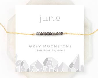 Natural Grey Moonstone Necklace, Celestial Jewelry, Spiritual Necklace, Beaded Moonstone, June Birthstone, Modern Jewelry, Delicate Choker