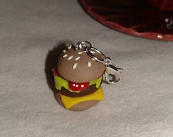 Polymer clay, hamburger, charm