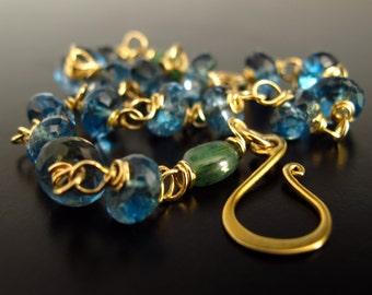 22k Solid Gold London Blue Topaz and Emerald Bracelet