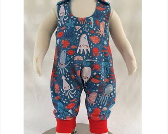On Sale! Baby romper sewing pattern KINDY KNIT ROMPER baby's reversible knit fabric romper sizes 3 months to 3 years