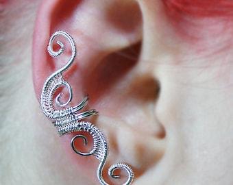 Ear Cuff - Silver Woven Full Size Swirly Cuff