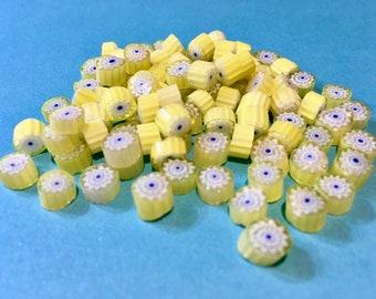 Millefiori 104 coe Murrini, NEW! Yellow White and Cobalt Flowers, 28 grams (1 oz), 6-7 mm, Best Quality Italian Glass Slices