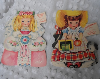 Vintage Unused Get Well Wishes Card - YOUR CHOICE - Mary Had a Little Lamb OR Cinderella - Little Girl Get Well Cards - Ready to ship