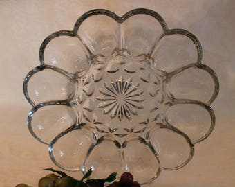 Anchor Hocking Clear Glass Deviled Egg Plate in Excellent Condition! - Fairfield Pattern