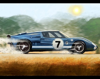 Automotive Art Muscle Car Blue Ford GT 8x12 Metallic Print