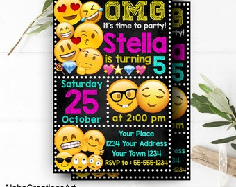 INSTANT DOWNLOAD - Emoji Invitation, Emoji Party, Emoji Birthday Invitation, Emoji Birthday, Emoji Invitation,Emoji Invite,Emoji Party Ideas