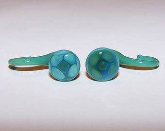 4 gauge aqua glass dangle style plugs (806)