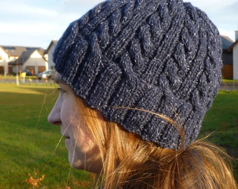 Knitting PATTERN - The Ballater Beanie, PDF knitting pattern, beanie hat, cabled, dk, worsted, adult size, designed in Scotland