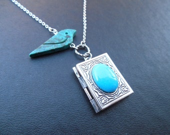 genuine turquoise bird and antique silver book locket necklace version 2