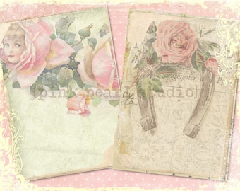 """Lucky Girl Vintage Floral Grungy Background Digital Prints in 2 - 5x7"""" Format Altered Art, ATC, Scrapbooking"""