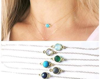 Dainty Gem Choker Necklace, Choker Necklace, Layering Necklace, Dainty Necklace, The Silver Wren, Short Necklace, 14kt gold filled