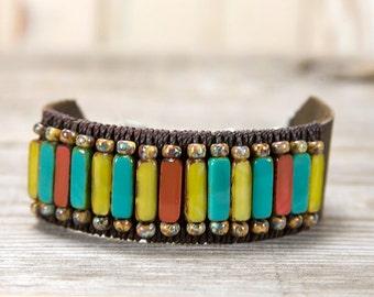 Leather Beaded Cuff, beaded leather, bohemian bracelet, distressed leather, leather cuff, adjustable bracelet, boho chic, Colorful bracelet