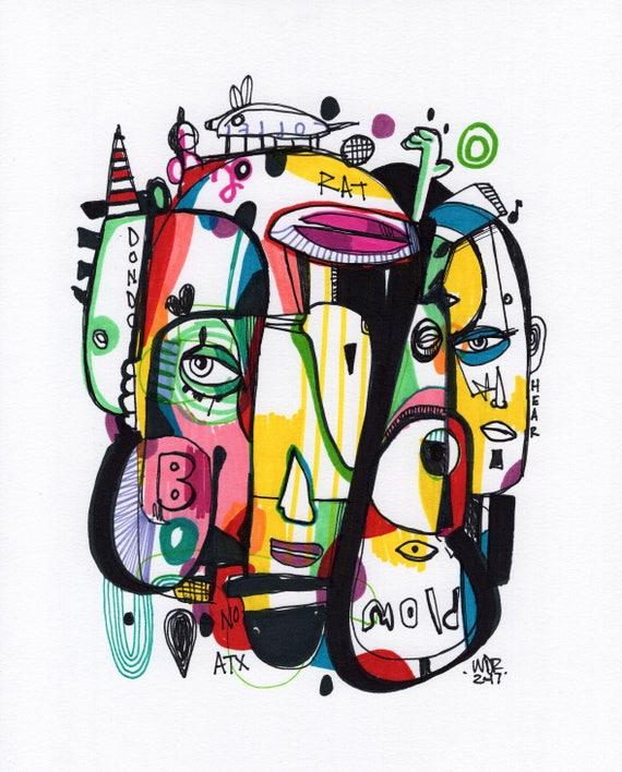 "Rat Bo - Original mixed media Illustration on Bristol - 8"" x 10"""