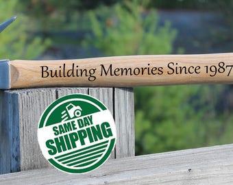 Engraved Hammer Building a Life Together, Fathers Day, Fathers Day Gift from daughter, Fathers Day gift from son, Fathers Day gift from Kids