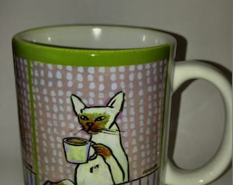 25% off cat art - Siamese cat at the cafe coffee shop 11 oz art mug cup gift artowkr, cat gifts, gift