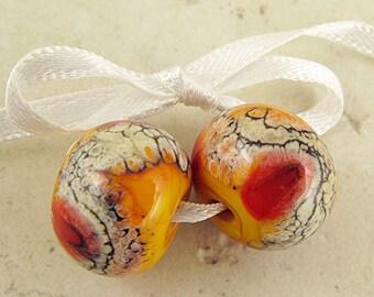 Lipstick Red and Apricot Orange Handmade Lampwork Glass Bead Pair 14x11 mm Warm Fire