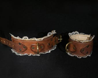 wrist cuffs pair leather