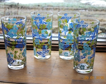Retro 4 Tall Summer Ice Tea Glasses Butterflies and Flowers