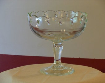 Clear Indiana Glass Teardrop Compote