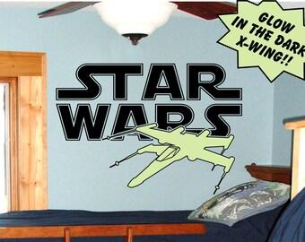 Star Wars X-Wing Wall Decal / X-Wing Wall Art / Star Wars X Wing Decal / X Wing Sticker / Star Wars Decal / Star Wars Vinyl Wall Art