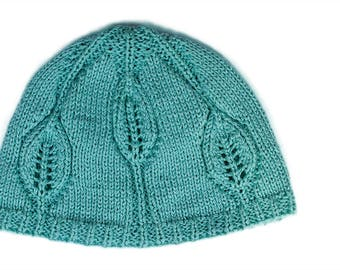 PDF knitting pattern, Knit hat pattern, Baby hat pattern, Leafy Baby hat, babies