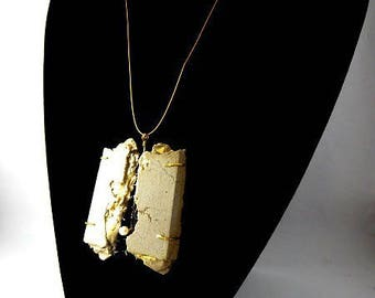 "Concrete jewelry contemporary ""Tear"" pendant necklace"