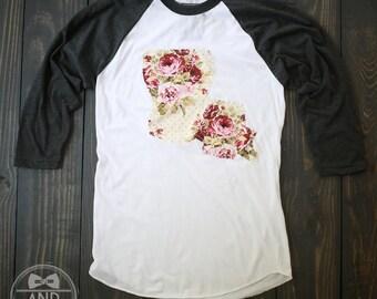 """Handmade LSU Louisiana Outline Baseball Shirt, T-Shirt,Tee- """"Shabby Chic"""""""