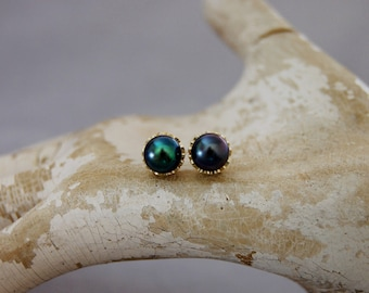 Victoria - black peacock pearl earrings, pearl stud earrings, freshwater pearl earrings, pearl jewelry, formal wear, gift idea for her